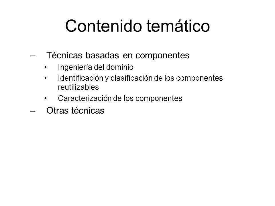 Contenido temático –Técnicas basadas en componentes Ingeniería del dominio Identificación y clasificación de los componentes reutilizables Caracteriza
