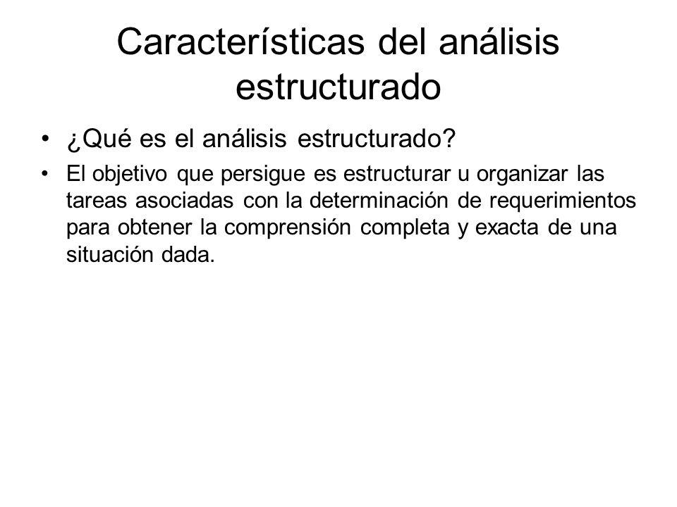 Características del análisis estructurado ¿Qué es el análisis estructurado? El objetivo que persigue es estructurar u organizar las tareas asociadas c