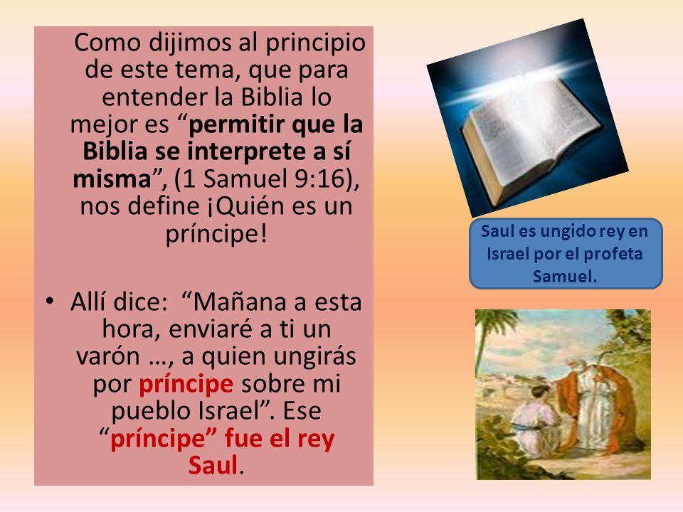 Como dijimos al principio de este tema, que para entender la Biblia lo mejor es permitir que la Biblia se interprete a sí misma, (1 Samuel 9:16), nos