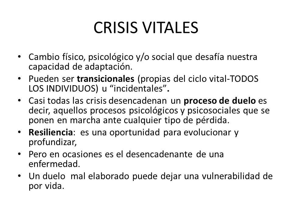 CRISIS VITALES Cambio físico, psicológico y/o social que desafía nuestra capacidad de adaptación. Pueden ser transicionales (propias del ciclo vital-T