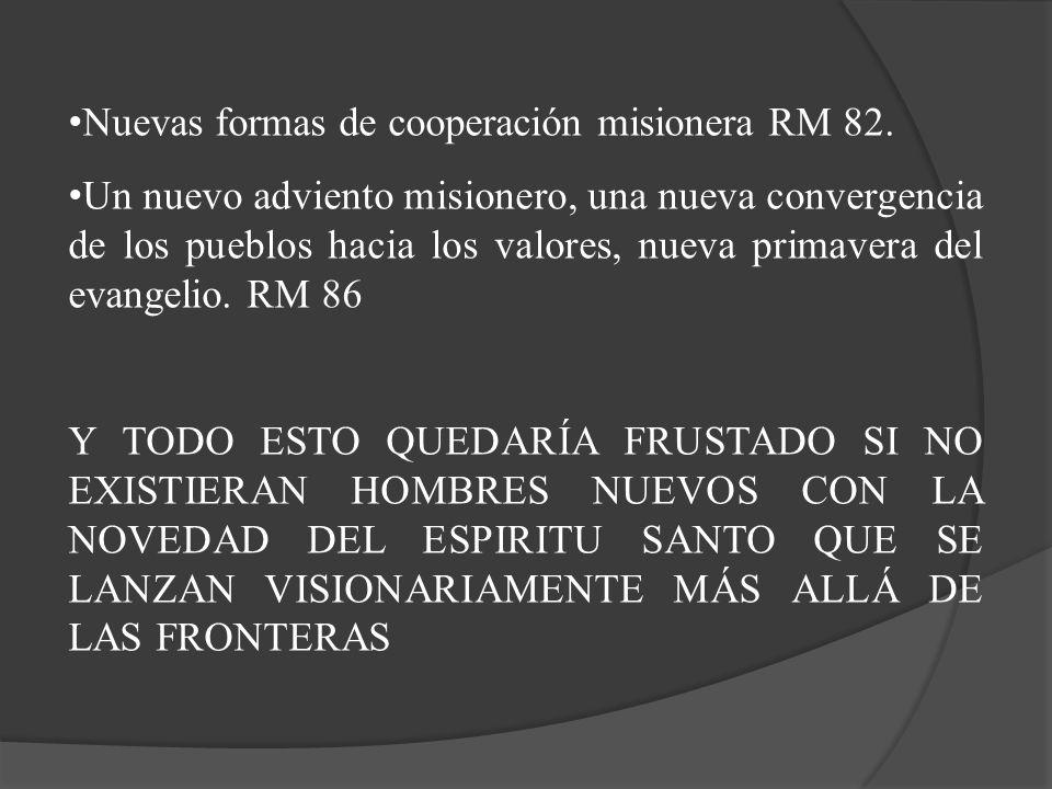 Nuevas formas de cooperación misionera RM 82. Un nuevo adviento misionero, una nueva convergencia de los pueblos hacia los valores, nueva primavera de