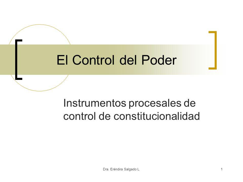 Dra. Eréndira Salgado L.1 El Control del Poder Instrumentos procesales de control de constitucionalidad