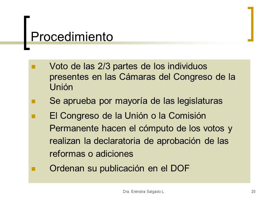 Dra. Eréndira Salgado L.20 Procedimiento Voto de las 2/3 partes de los individuos presentes en las Cámaras del Congreso de la Unión Se aprueba por may