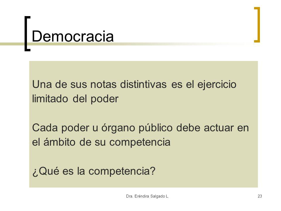 Dra. Eréndira Salgado L.23 Democracia Una de sus notas distintivas es el ejercicio limitado del poder Cada poder u órgano público debe actuar en el ám