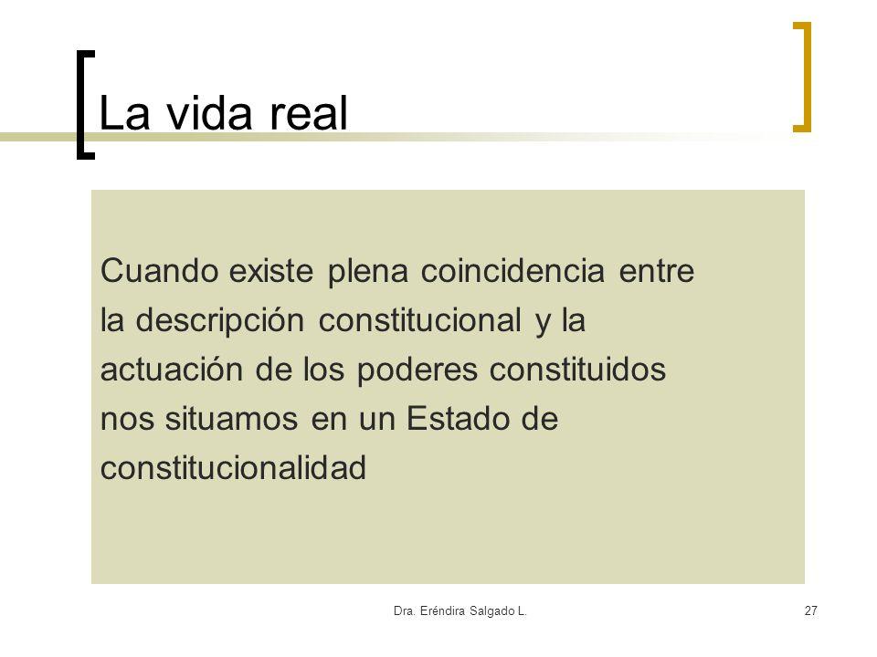 Dra. Eréndira Salgado L.27 La vida real Cuando existe plena coincidencia entre la descripción constitucional y la actuación de los poderes constituido