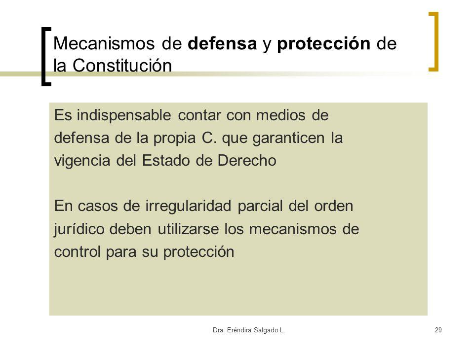 Dra. Eréndira Salgado L.29 Mecanismos de defensa y protección de la Constitución Es indispensable contar con medios de defensa de la propia C. que gar