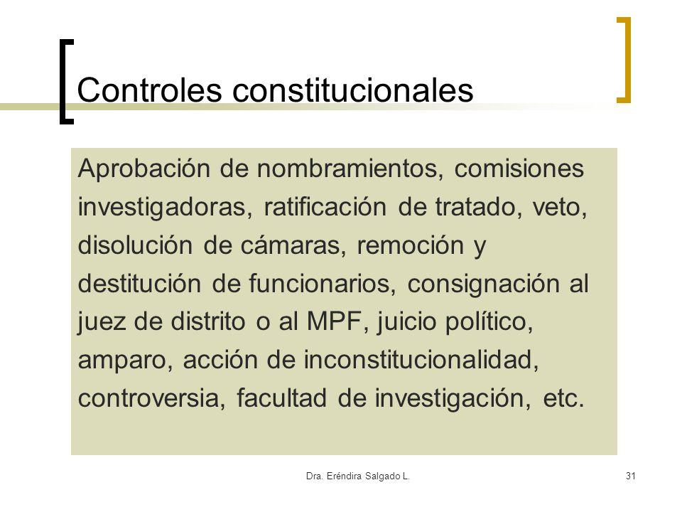 Dra. Eréndira Salgado L.31 Controles constitucionales Aprobación de nombramientos, comisiones investigadoras, ratificación de tratado, veto, disolució