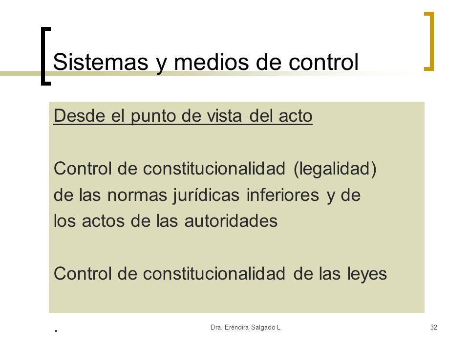 Dra. Eréndira Salgado L.32 Sistemas y medios de control Desde el punto de vista del acto Control de constitucionalidad (legalidad) de las normas juríd
