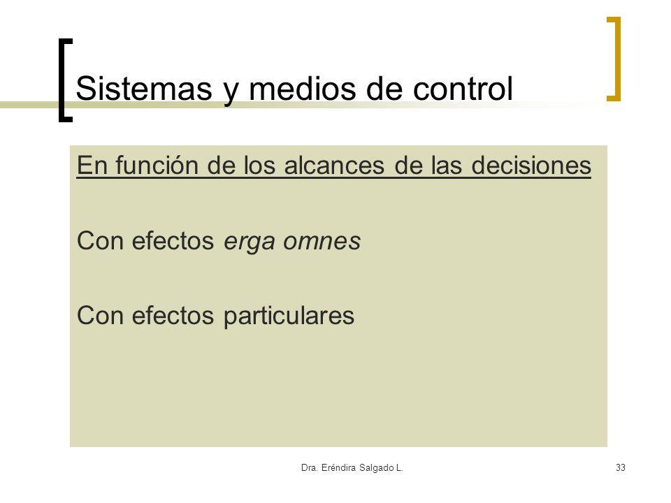 Dra. Eréndira Salgado L.33 Sistemas y medios de control En función de los alcances de las decisiones Con efectos erga omnes Con efectos particulares