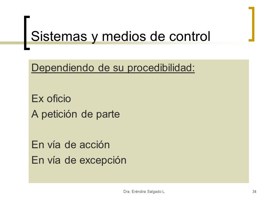 Dra. Eréndira Salgado L.34 Sistemas y medios de control Dependiendo de su procedibilidad: Ex oficio A petición de parte En vía de acción En vía de exc