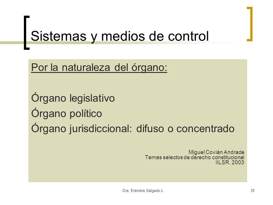 Dra. Eréndira Salgado L.35 Sistemas y medios de control Por la naturaleza del órgano: Órgano legislativo Órgano político Órgano jurisdiccional: difuso