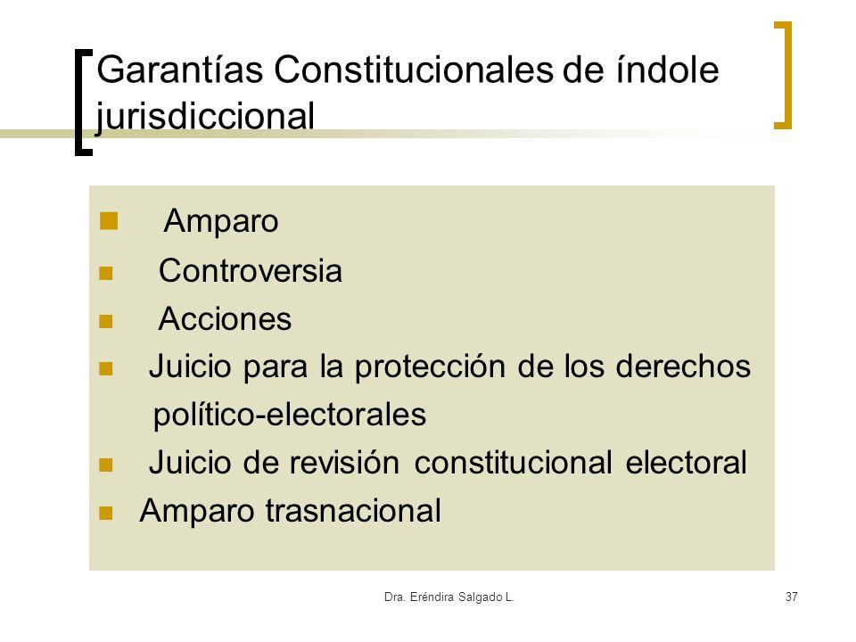 Dra. Eréndira Salgado L.37 Garantías Constitucionales de índole jurisdiccional Amparo Controversia Acciones Juicio para la protección de los derechos
