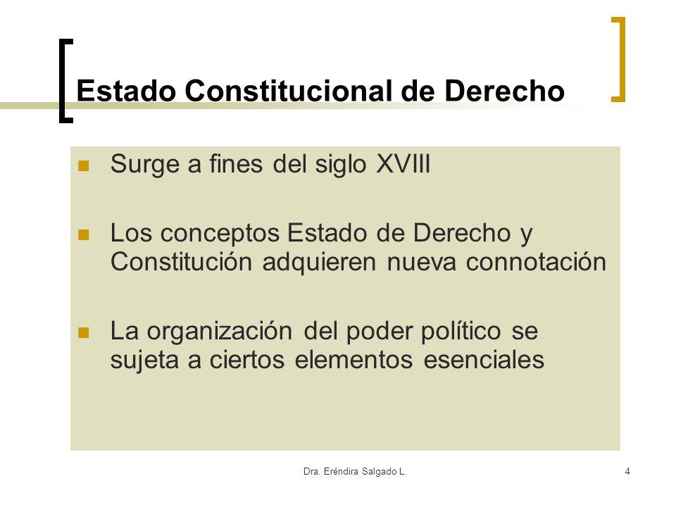 Dra. Eréndira Salgado L.4 Estado Constitucional de Derecho Surge a fines del siglo XVIII Los conceptos Estado de Derecho y Constitución adquieren nuev