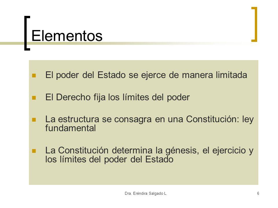 Dra. Eréndira Salgado L.6 Elementos El poder del Estado se ejerce de manera limitada El Derecho fija los límites del poder La estructura se consagra e