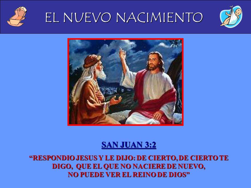 SAN JUAN 3:2 RESPONDIO JESUS Y LE DIJO: DE CIERTO, DE CIERTO TE DIGO, QUE EL QUE NO NACIERE DE NUEVO, NO PUEDE VER EL REINO DE DIOS
