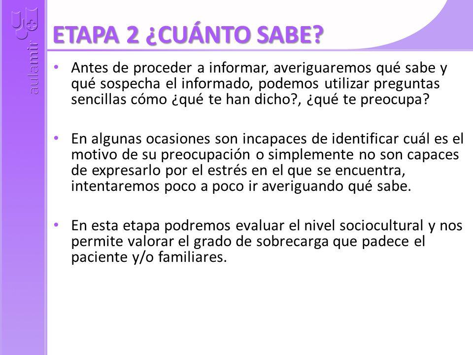 ETAPA 2 ¿CUÁNTO SABE? Antes de proceder a informar, averiguaremos qué sabe y qué sospecha el informado, podemos utilizar preguntas sencillas cómo ¿qué