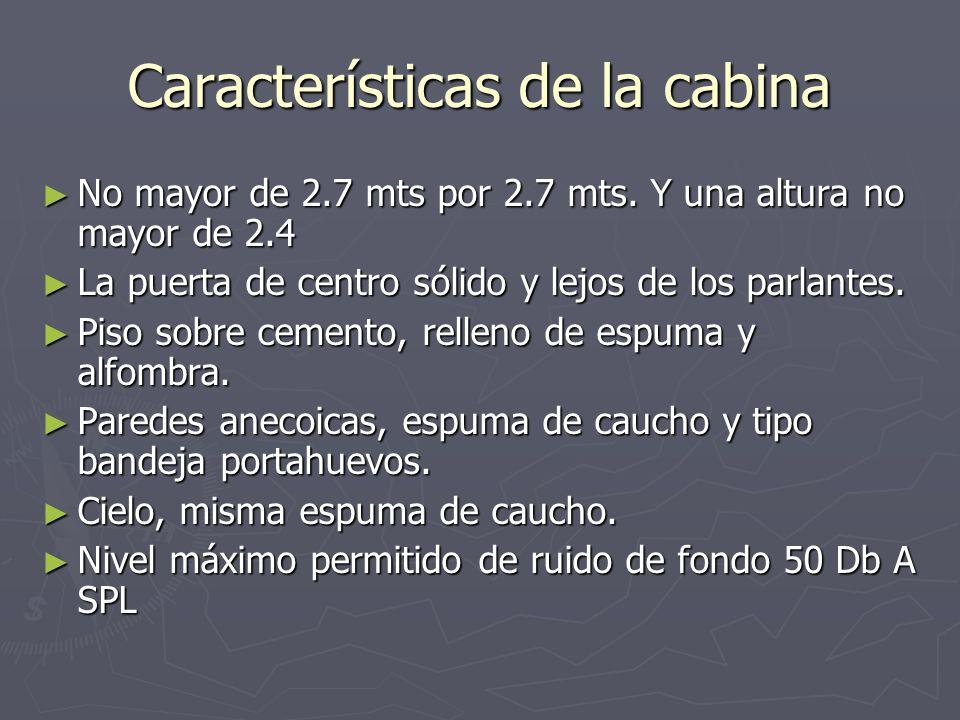 Características de la cabina No mayor de 2.7 mts por 2.7 mts. Y una altura no mayor de 2.4 No mayor de 2.7 mts por 2.7 mts. Y una altura no mayor de 2