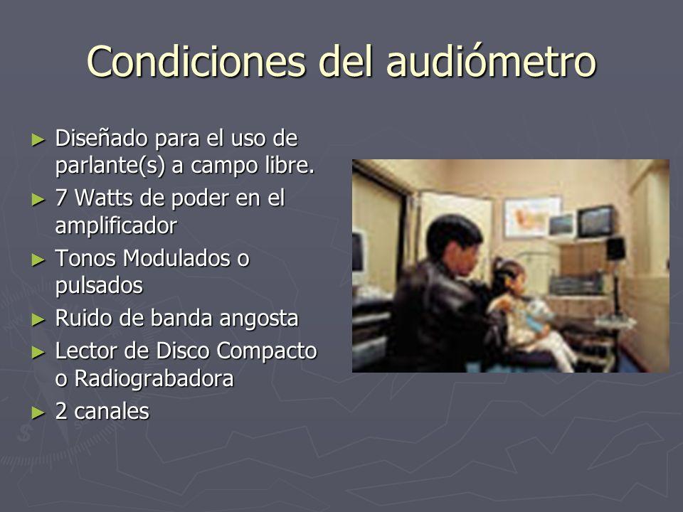 Condiciones del audiómetro Diseñado para el uso de parlante(s) a campo libre. Diseñado para el uso de parlante(s) a campo libre. 7 Watts de poder en e