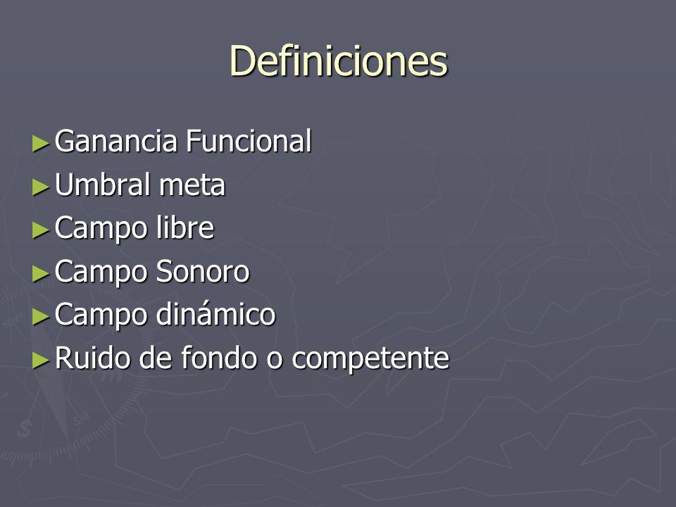 Definiciones Ganancia Funcional Ganancia Funcional Umbral meta Umbral meta Campo libre Campo libre Campo Sonoro Campo Sonoro Campo dinámico Campo diná