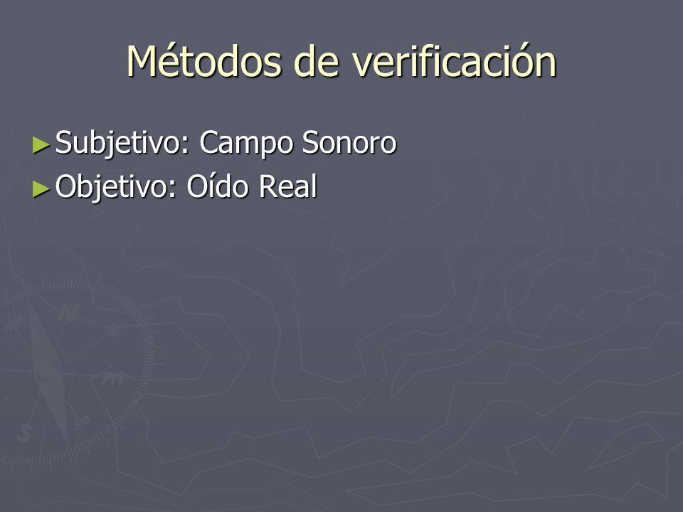 Métodos de verificación Subjetivo: Campo Sonoro Subjetivo: Campo Sonoro Objetivo: Oído Real Objetivo: Oído Real