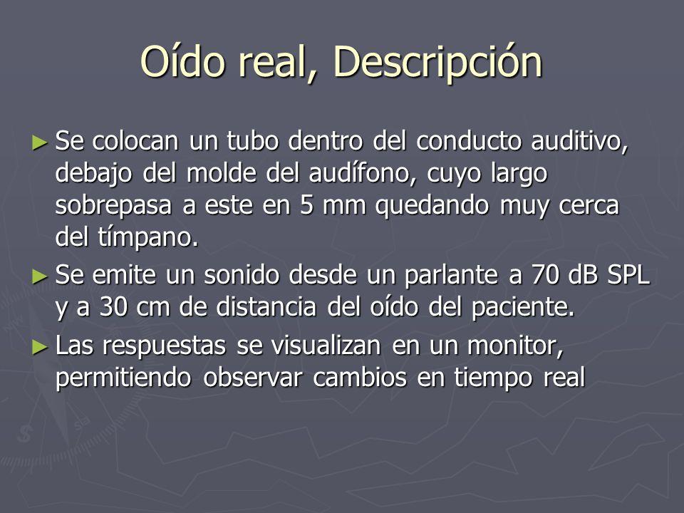 Oído real, Descripción Se colocan un tubo dentro del conducto auditivo, debajo del molde del audífono, cuyo largo sobrepasa a este en 5 mm quedando mu