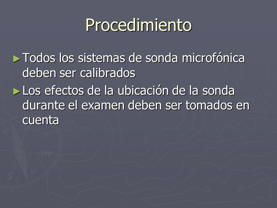 Procedimiento Todos los sistemas de sonda microfónica deben ser calibrados Todos los sistemas de sonda microfónica deben ser calibrados Los efectos de