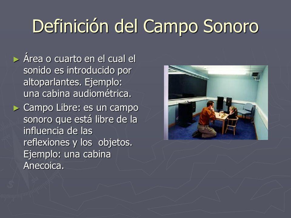 Definición del Campo Sonoro Área o cuarto en el cual el sonido es introducido por altoparlantes. Ejemplo: una cabina audiométrica. Área o cuarto en el