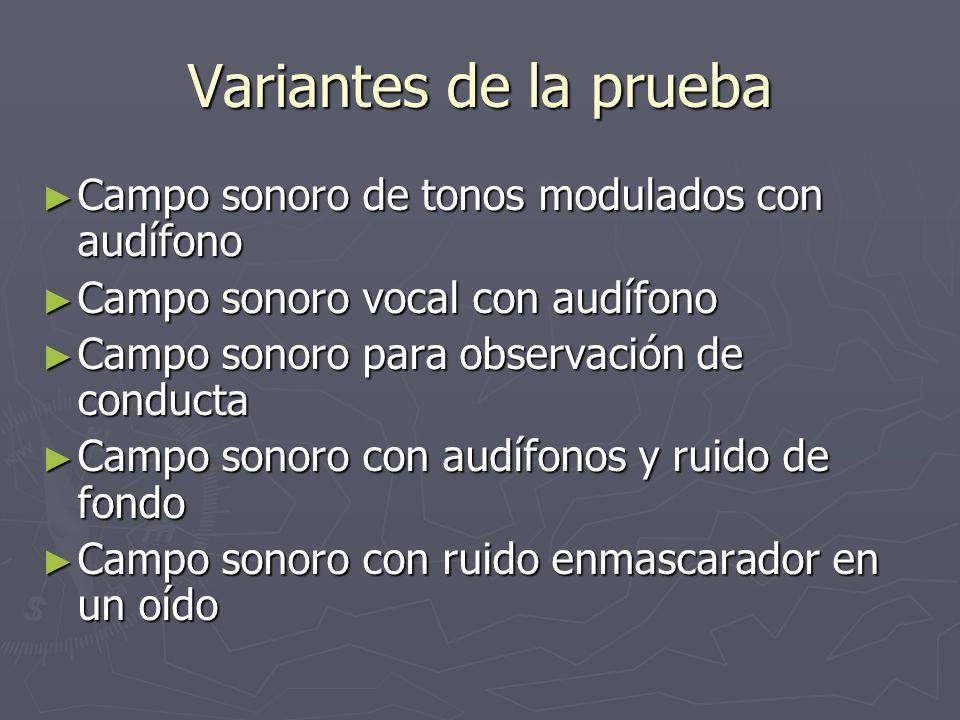 Variantes de la prueba Campo sonoro de tonos modulados con audífono Campo sonoro de tonos modulados con audífono Campo sonoro vocal con audífono Campo