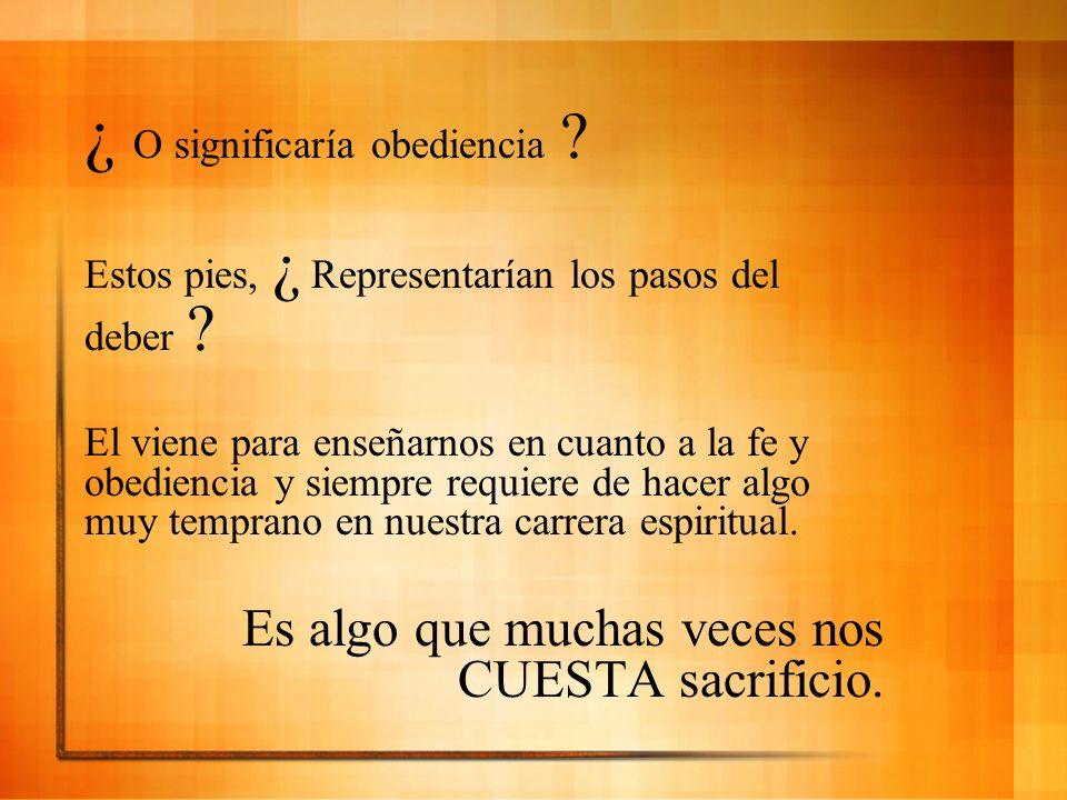 ¿ O significaría obediencia ? Estos pies, ¿ Representarían los pasos del deber ? El viene para enseñarnos en cuanto a la fe y obediencia y siempre req
