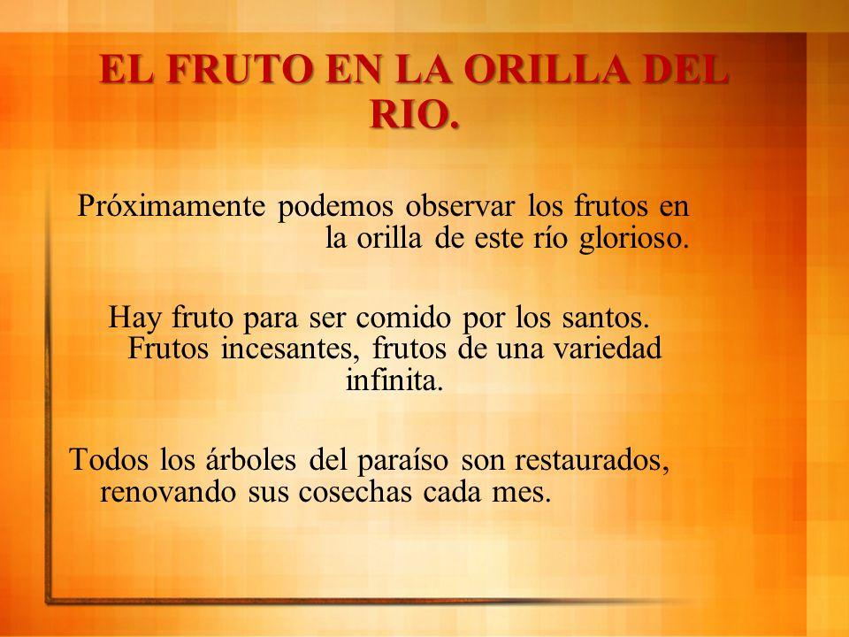 EL FRUTO EN LA ORILLA DEL RIO. Próximamente podemos observar los frutos en la orilla de este río glorioso. Hay fruto para ser comido por los santos. F