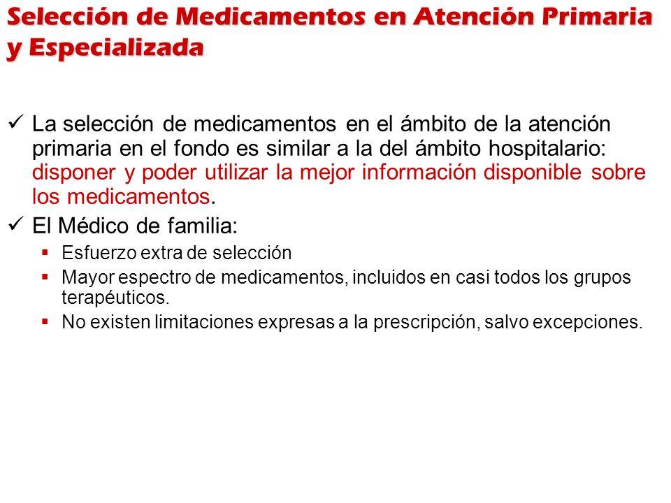 Selección de Medicamentos en Atención Primaria y Especializada La selección de medicamentos en el ámbito de la atención primaria en el fondo es simila