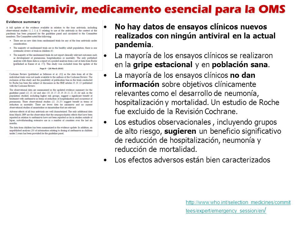 Oseltamivir, medicamento esencial para la OMS http://www.who.int/selection_medicines/commit tees/expert/emergency_session/en / No hay datos de ensayos