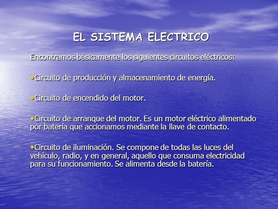 EL SISTEMA ELECTRICO Encontramos básicamente los siguientes circuitos eléctricos: Circuito de producción y almacenamiento de energía. Circuito de prod