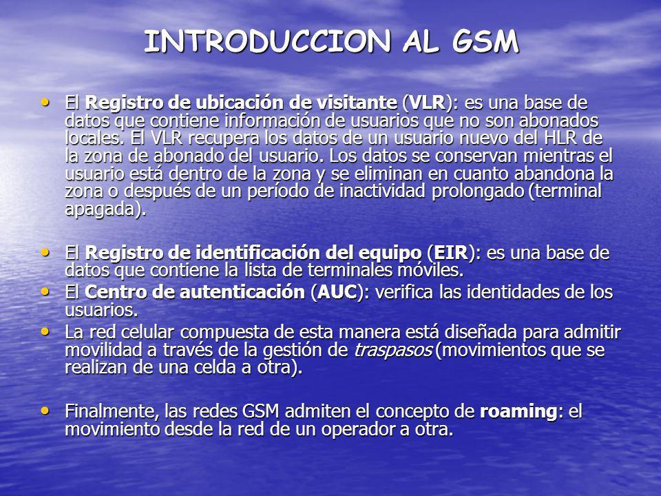 INTRODUCCION AL GSM El Registro de ubicación de visitante (VLR): es una base de datos que contiene información de usuarios que no son abonados locales