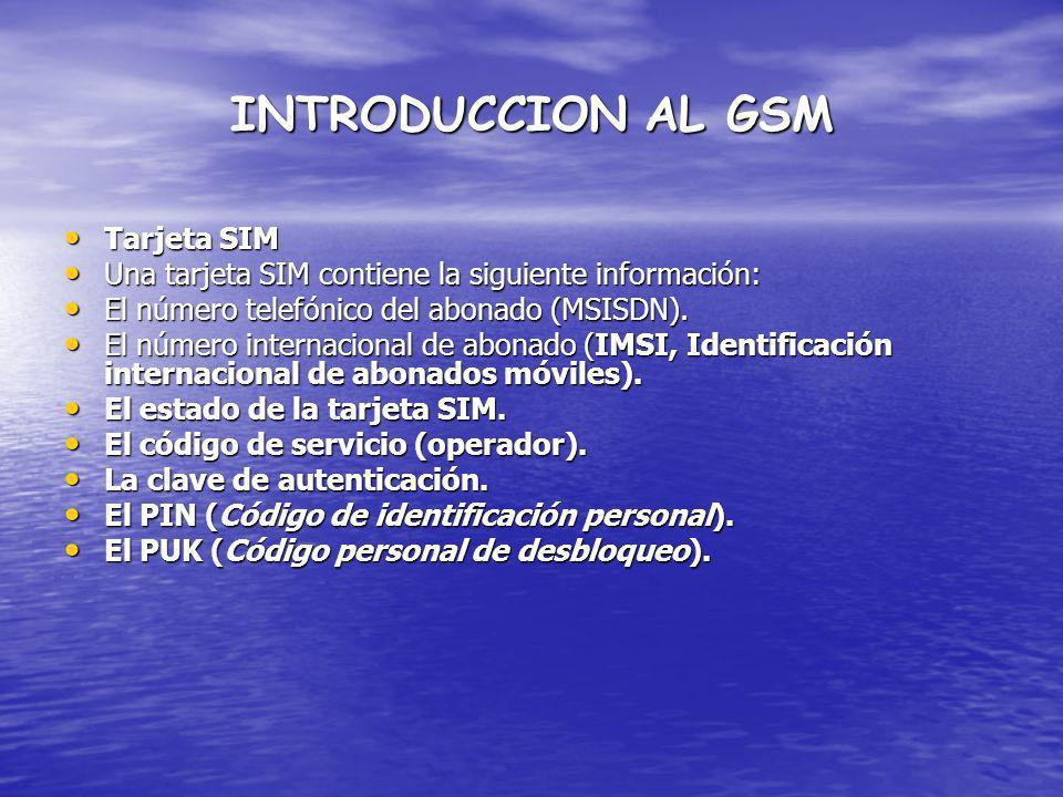 INTRODUCCION AL GSM Tarjeta SIM Tarjeta SIM Una tarjeta SIM contiene la siguiente información: Una tarjeta SIM contiene la siguiente información: El n