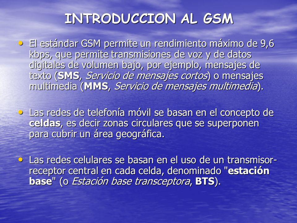 INTRODUCCION AL GSM El estándar GSM permite un rendimiento máximo de 9,6 kbps, que permite transmisiones de voz y de datos digitales de volumen bajo,