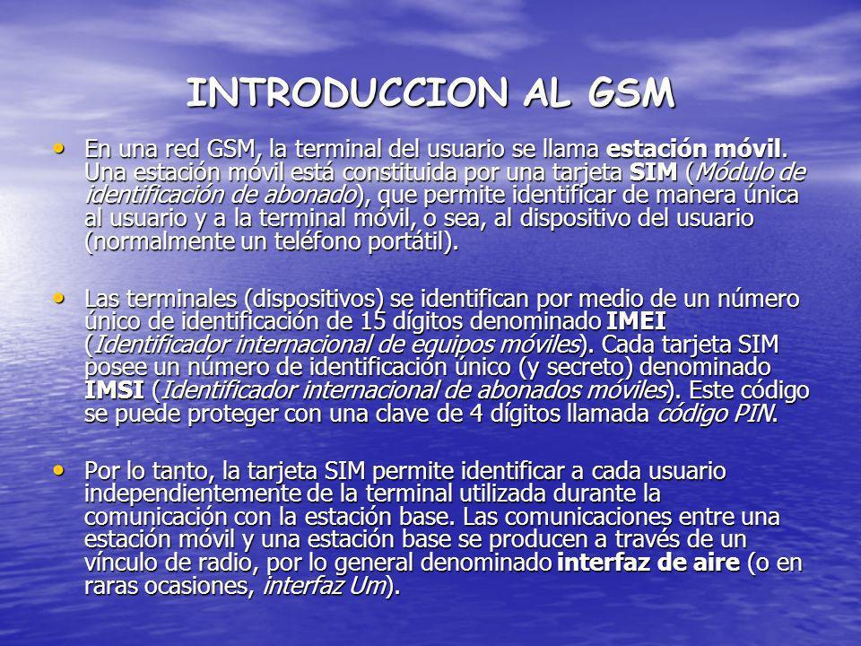 INTRODUCCION AL GSM En una red GSM, la terminal del usuario se llama estación móvil. Una estación móvil está constituida por una tarjeta SIM (Módulo d