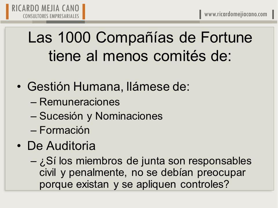 Las 1000 Compañías de Fortune tiene al menos comités de: Gestión Humana, llámese de: –Remuneraciones –Sucesión y Nominaciones –Formación De Auditoria
