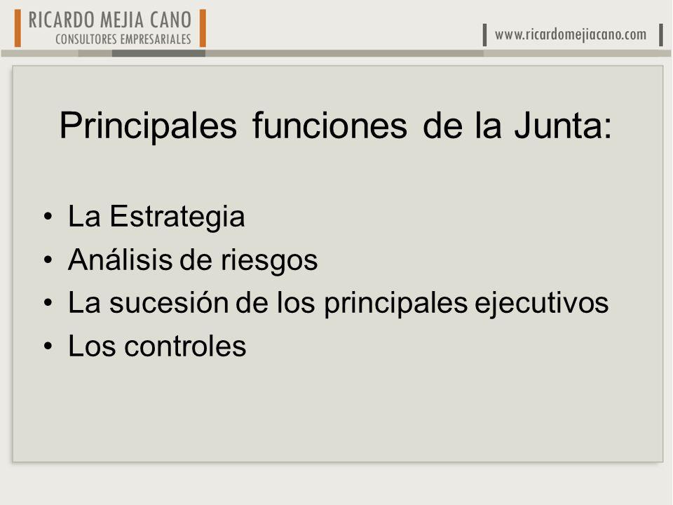 Principales funciones de la Junta: La Estrategia Análisis de riesgos La sucesión de los principales ejecutivos Los controles