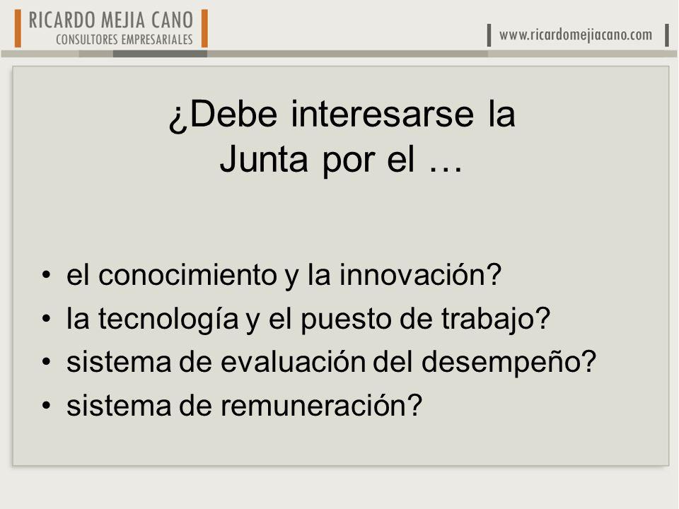 ¿Debe interesarse la Junta por el … el conocimiento y la innovación? la tecnología y el puesto de trabajo? sistema de evaluación del desempeño? sistem