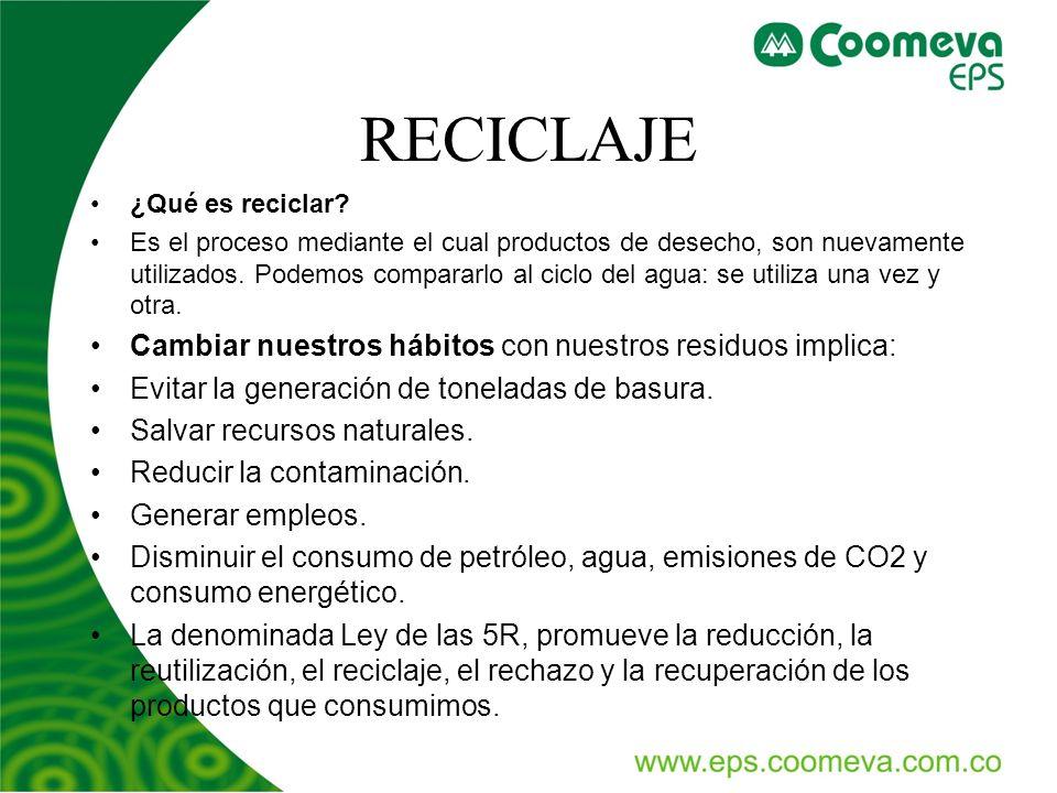RECICLAJE ¿Qué es reciclar? Es el proceso mediante el cual productos de desecho, son nuevamente utilizados. Podemos compararlo al ciclo del agua: se u
