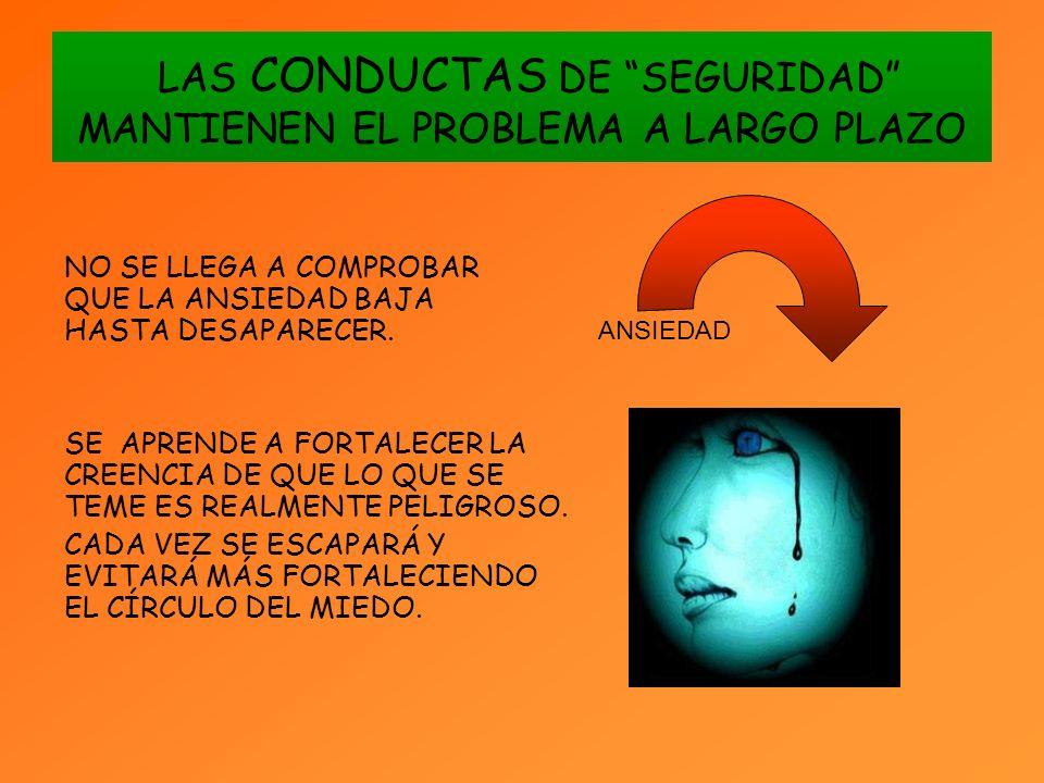 LAS CONDUCTAS DE SEGURIDAD MANTIENEN EL PROBLEMA A LARGO PLAZO NO SE LLEGA A COMPROBAR QUE LA ANSIEDAD BAJA HASTA DESAPARECER.