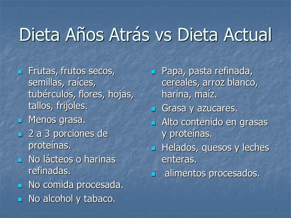 Dieta Años Atrás vs Dieta Actual Frutas, frutos secos, semillas, raíces, tubérculos, flores, hojas, tallos, frijoles. Frutas, frutos secos, semillas,