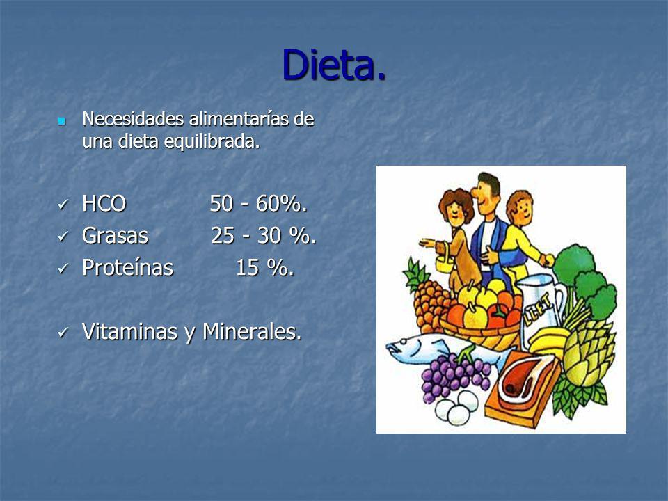 Dieta. Necesidades alimentarías de una dieta equilibrada. Necesidades alimentarías de una dieta equilibrada. HCO 50 - 60%. HCO 50 - 60%. Grasas 25 - 3