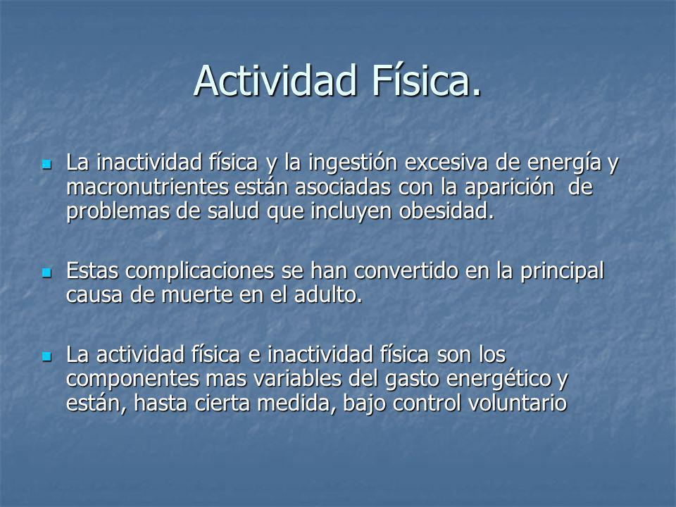 Actividad Física. La inactividad física y la ingestión excesiva de energía y macronutrientes están asociadas con la aparición de problemas de salud qu
