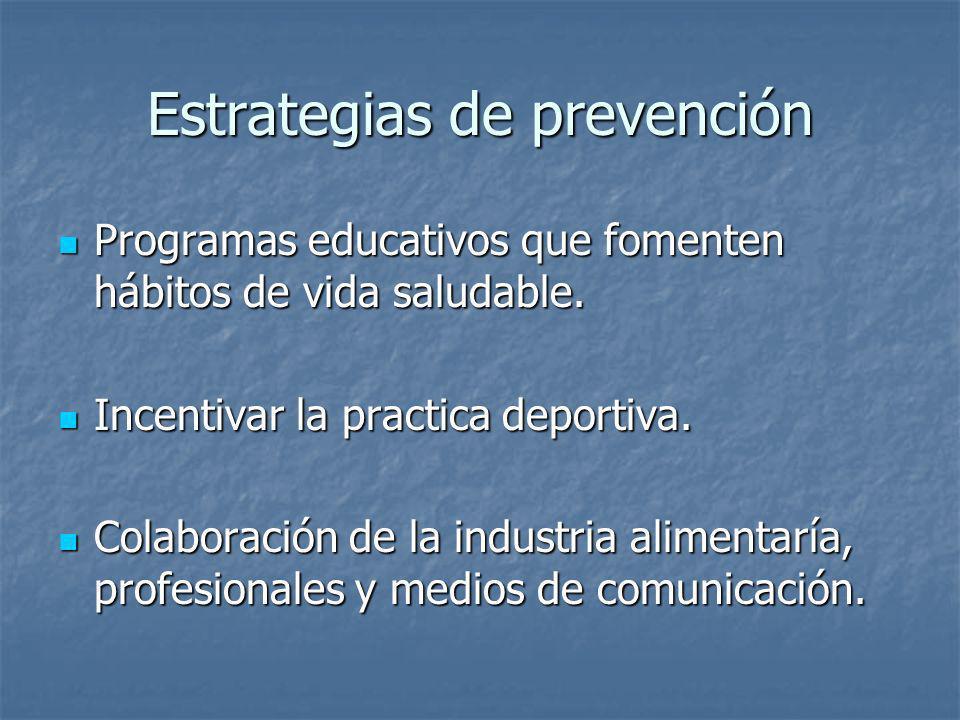 Estrategias de prevención Programas educativos que fomenten hábitos de vida saludable. Programas educativos que fomenten hábitos de vida saludable. In