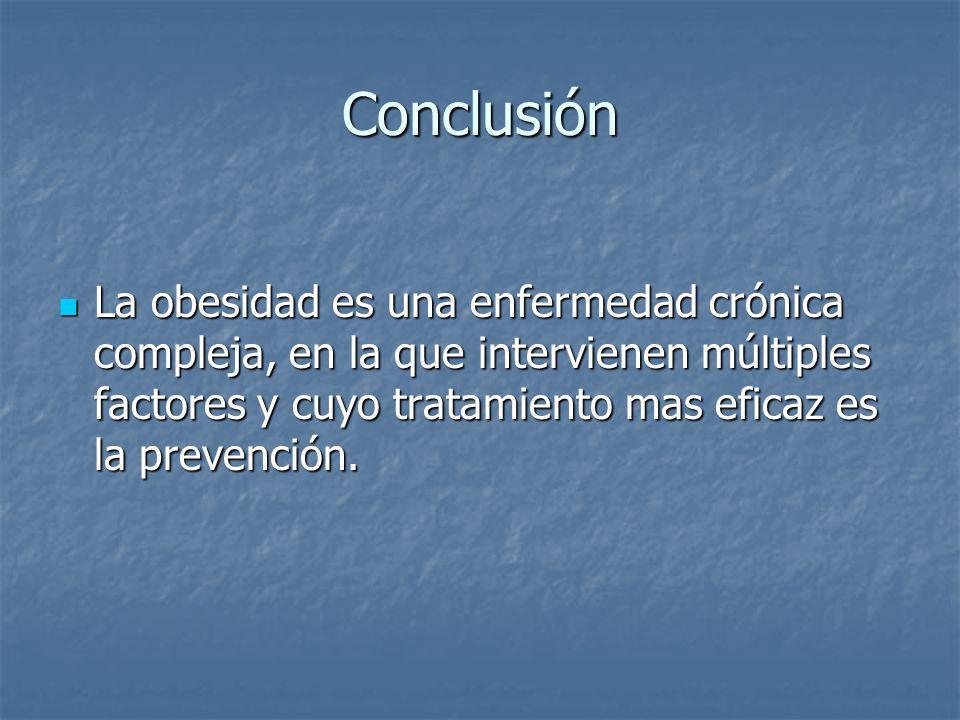 Conclusión La obesidad es una enfermedad crónica compleja, en la que intervienen múltiples factores y cuyo tratamiento mas eficaz es la prevención. La