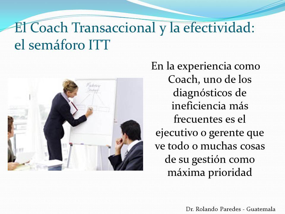 Dr. Rolando Paredes - Guatemala En la experiencia como Coach, uno de los diagnósticos de ineficiencia más frecuentes es el ejecutivo o gerente que ve
