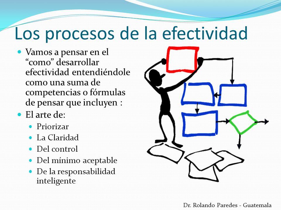 Dr. Rolando Paredes - Guatemala Los procesos de la efectividad Vamos a pensar en el como desarrollar efectividad entendiéndole como una suma de compet
