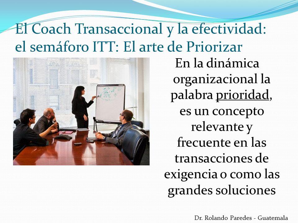 Dr. Rolando Paredes - Guatemala En la dinámica organizacional la palabra prioridad, es un concepto relevante y frecuente en las transacciones de exige
